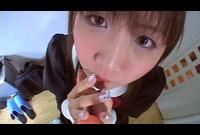 【無修正】クッソかわいいメイドがヨダレジュパジュパ丸見え!